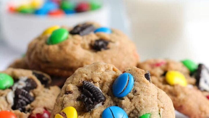 close up of gluten free monster cookies