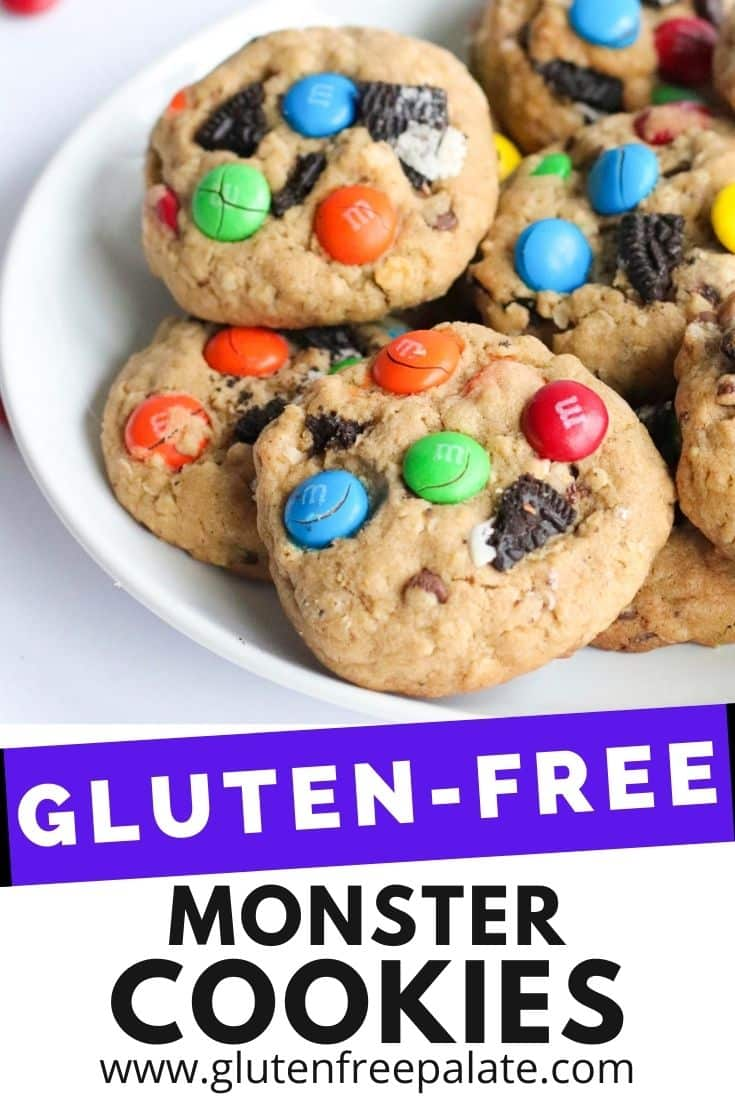 pinterest pin collage for gluten free monster cookies