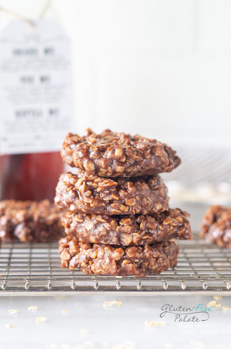 gluten free no bake cookies stacked on a wire rack