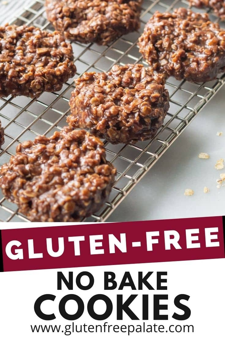 pinterest pin collage for gluten free no bake cookies