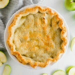 gluten free apple pie in a white pie plate