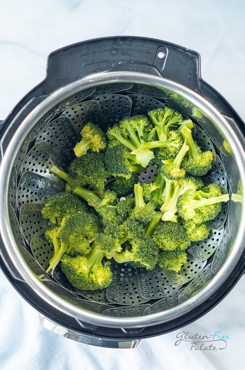 top down view of instant pot broccoli in an instant pot