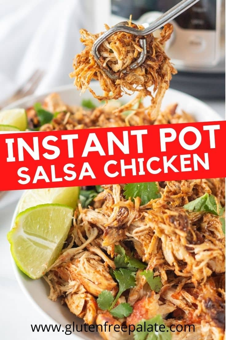 pinterest pin collage of instant pot salsa chicken