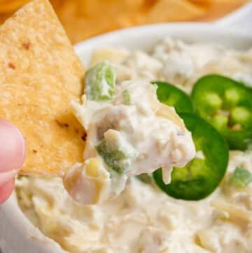 closeup view of jalapeno artichoke dip on a tortilla chip