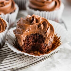 paleo chocolate cupcakes with a bite out