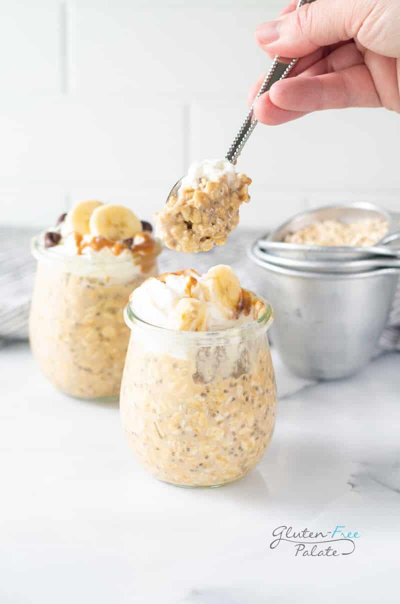 a spoon full of peanut butter overnight oats