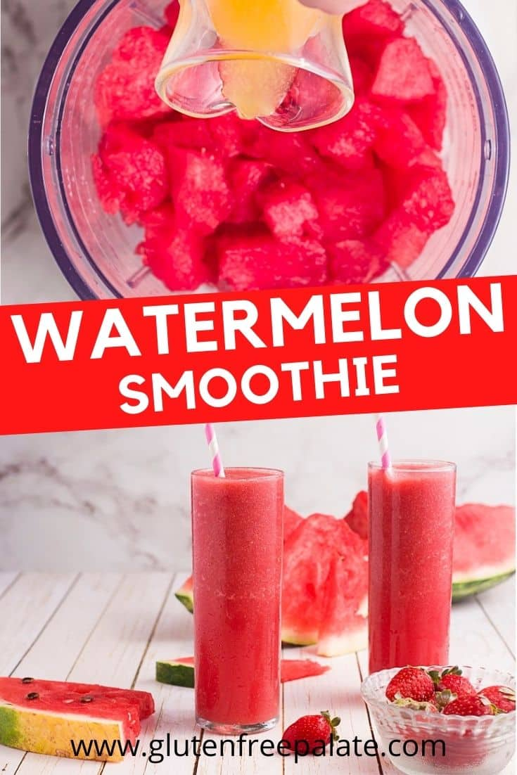 watermelon smoothie pinterest pin using two images