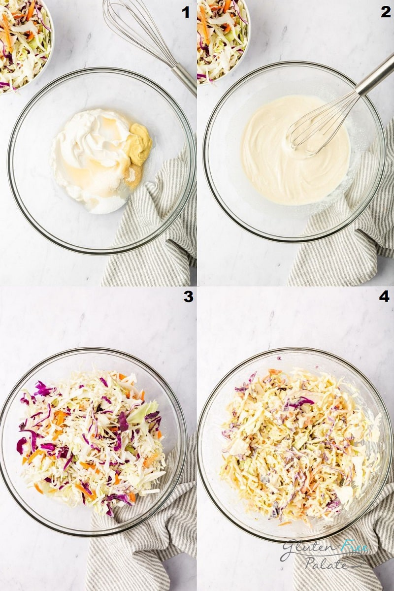 photo collage of four images showing the steps to make coleslaw.