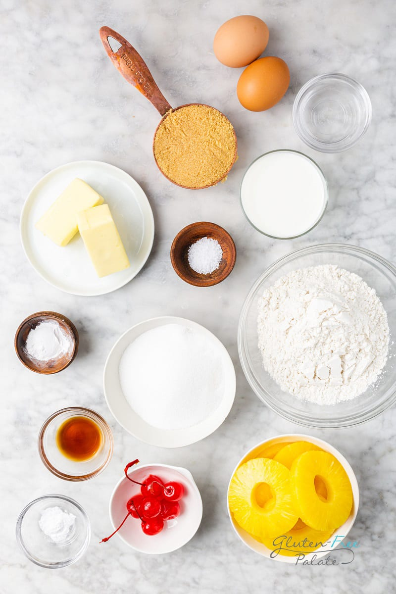 top down view of ingredients needed to make pineapple upside down cake