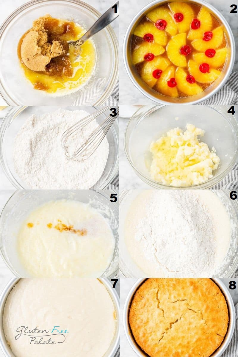 photo collage showing eight steps needed to make pineapple upside down cake.