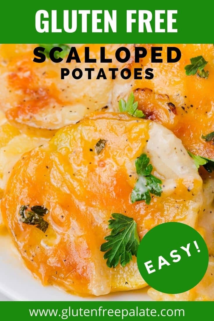 scalloped potatoes garnished with fresh parsley.