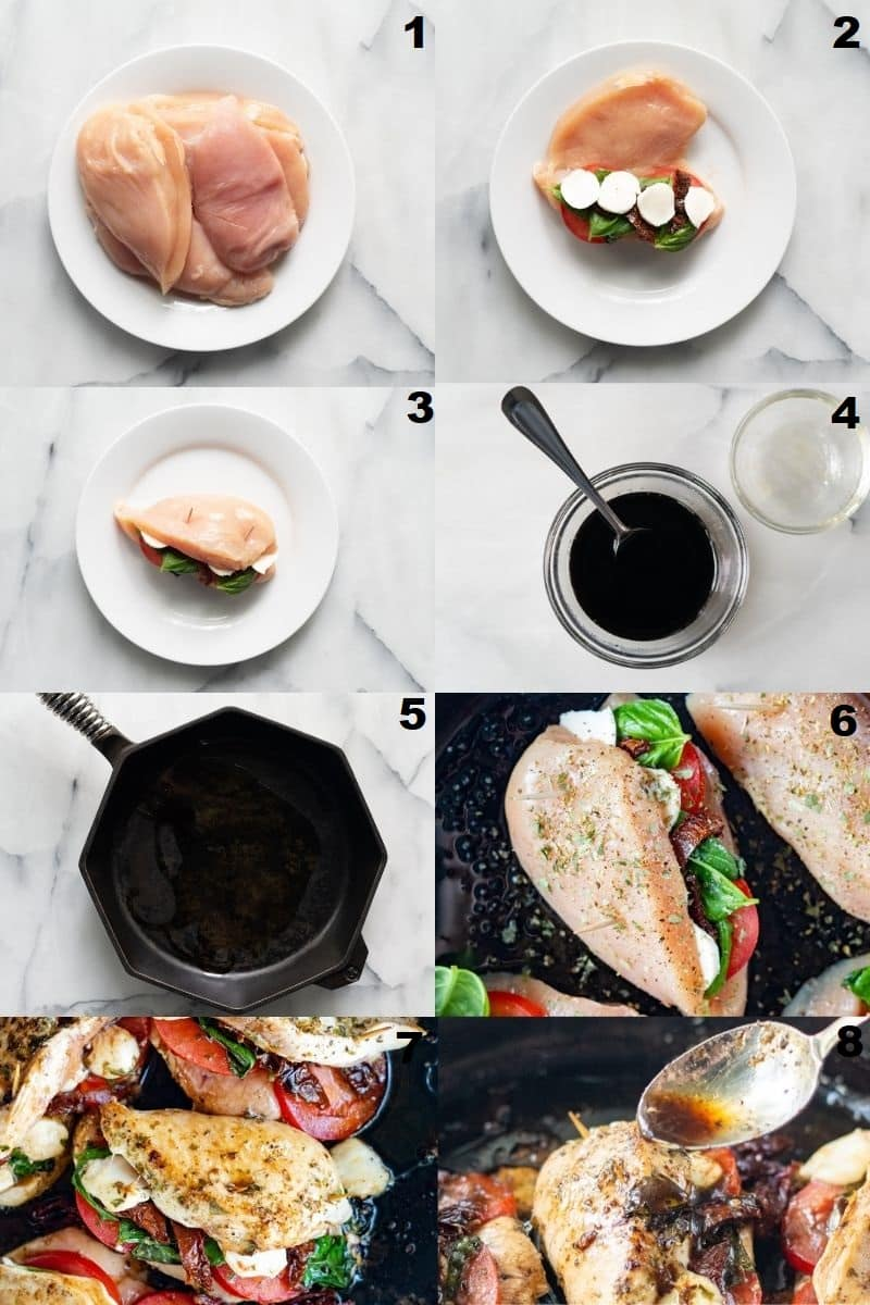 Photo collage showing 8 steps needed to make caprese stuffed balsamic chicken