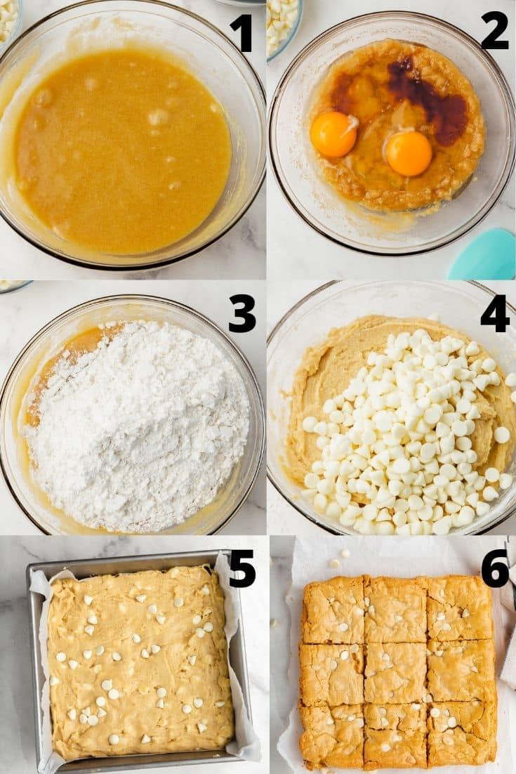 Photo collage showing 6 steps needed to make gluten free blondies