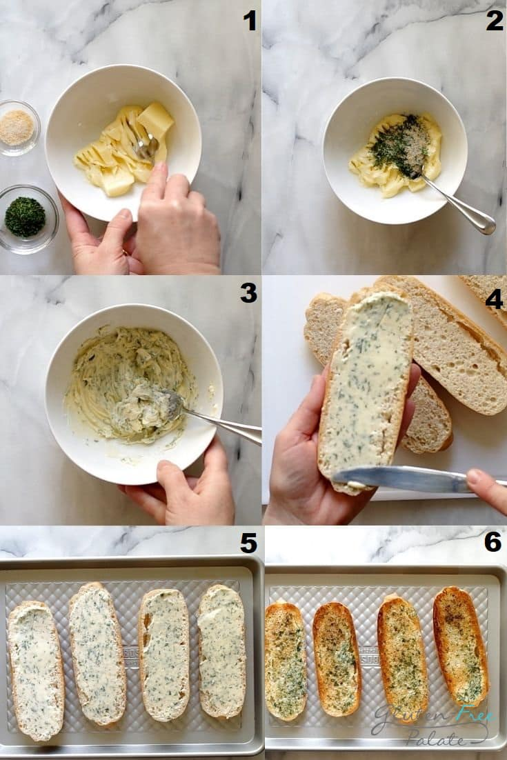 Photo collage showing 6 steps needed to make gluten free garlic bread