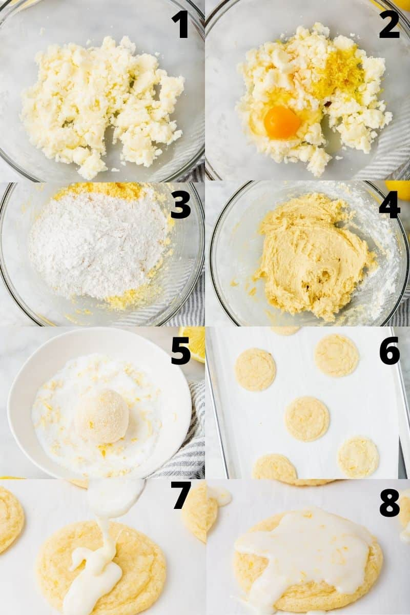 photo collage of eight images to show the steps for making gluten free lemon cookies