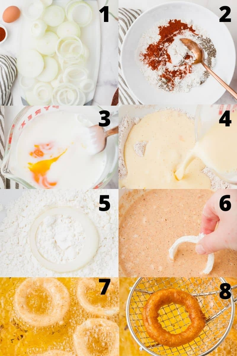 photo collage showing 8 steps needed to make gluten free onion rings