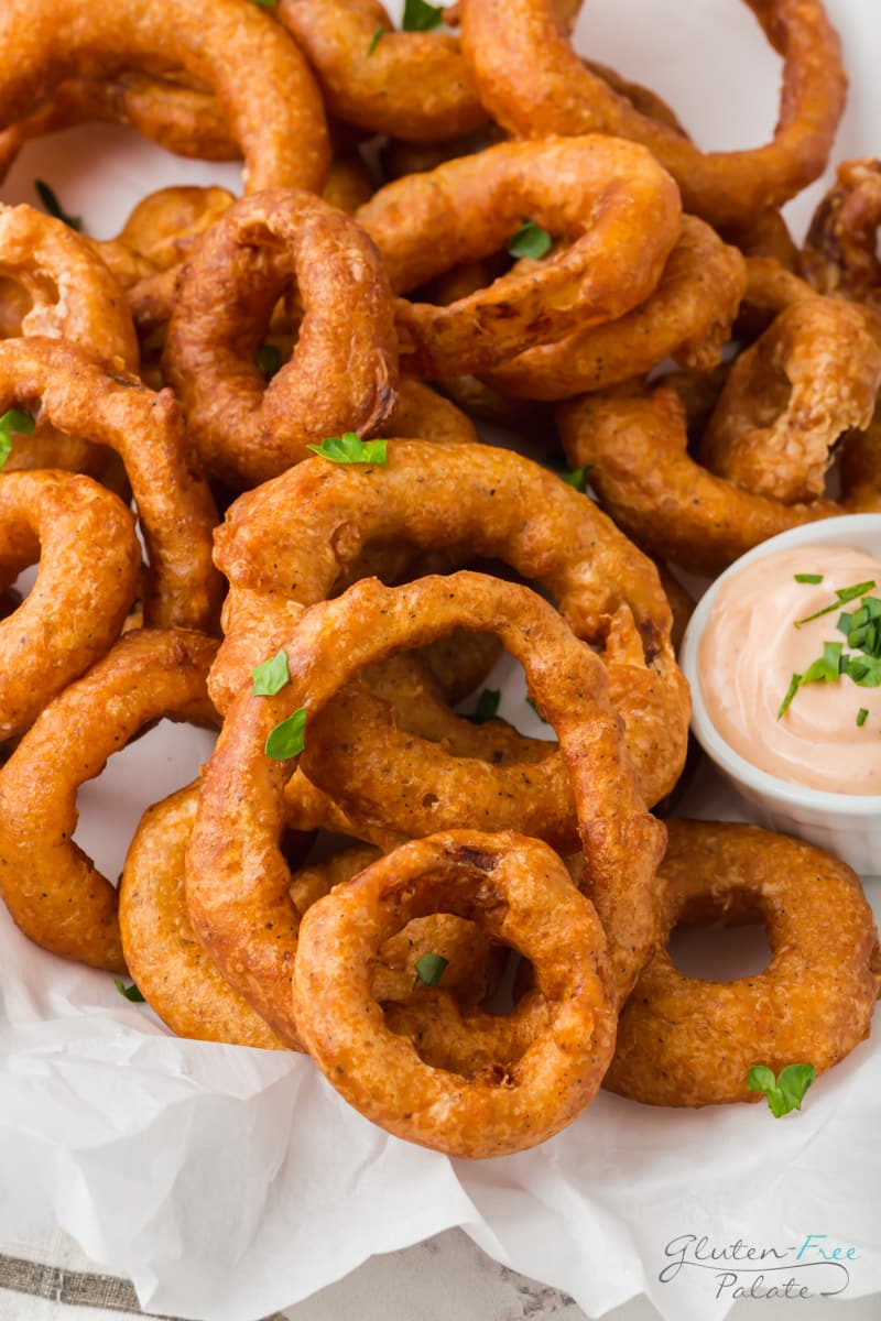 closeup view of a plate of onion rings on top of parchment paper.