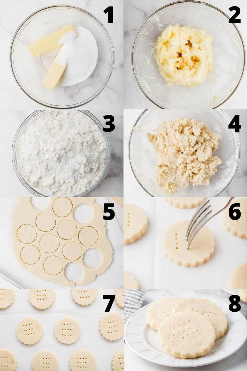 A photo collage showing 8 steps needed to make gluten free shortbread cookies.