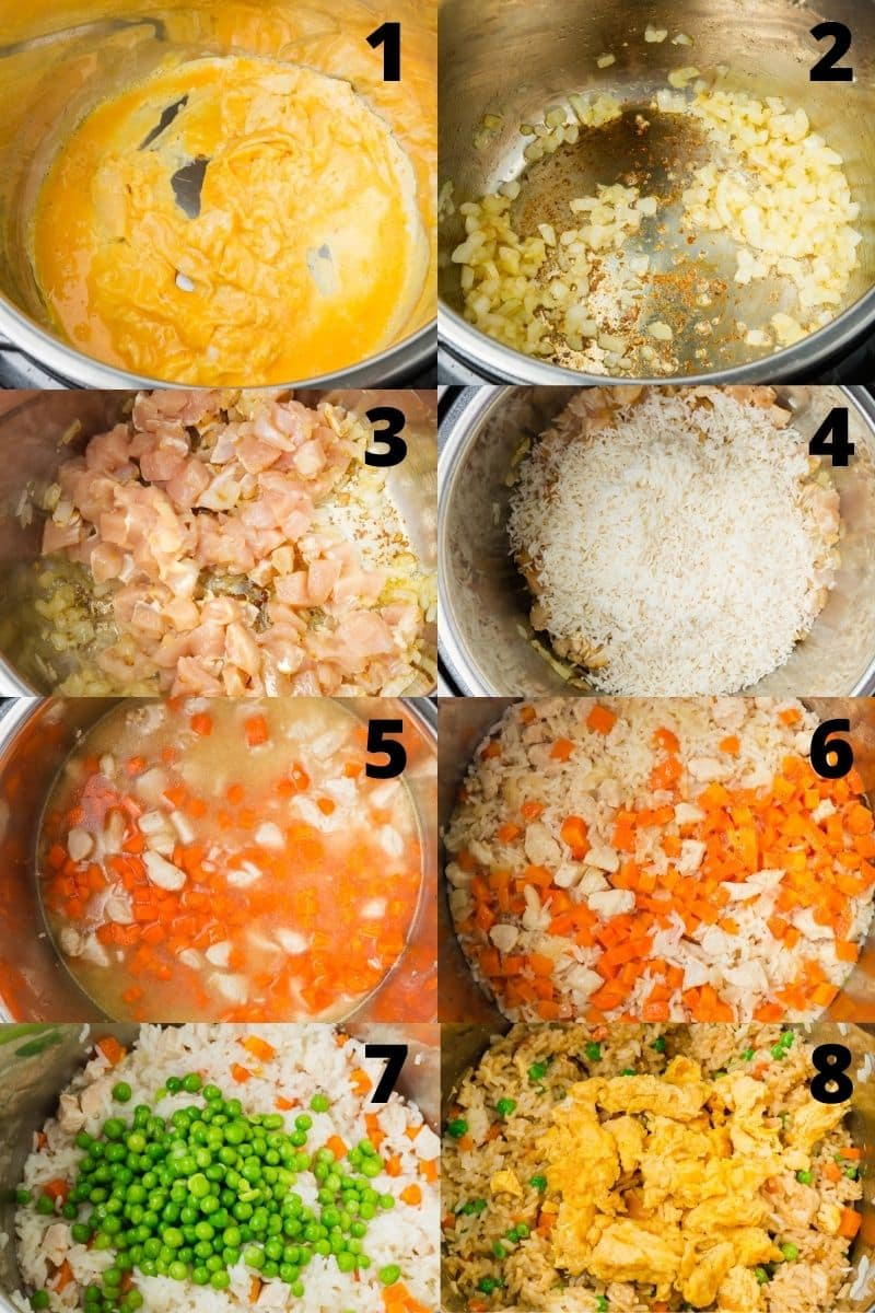 photo collage showing 8 steps needed to make chicken fried rice in an instant pot