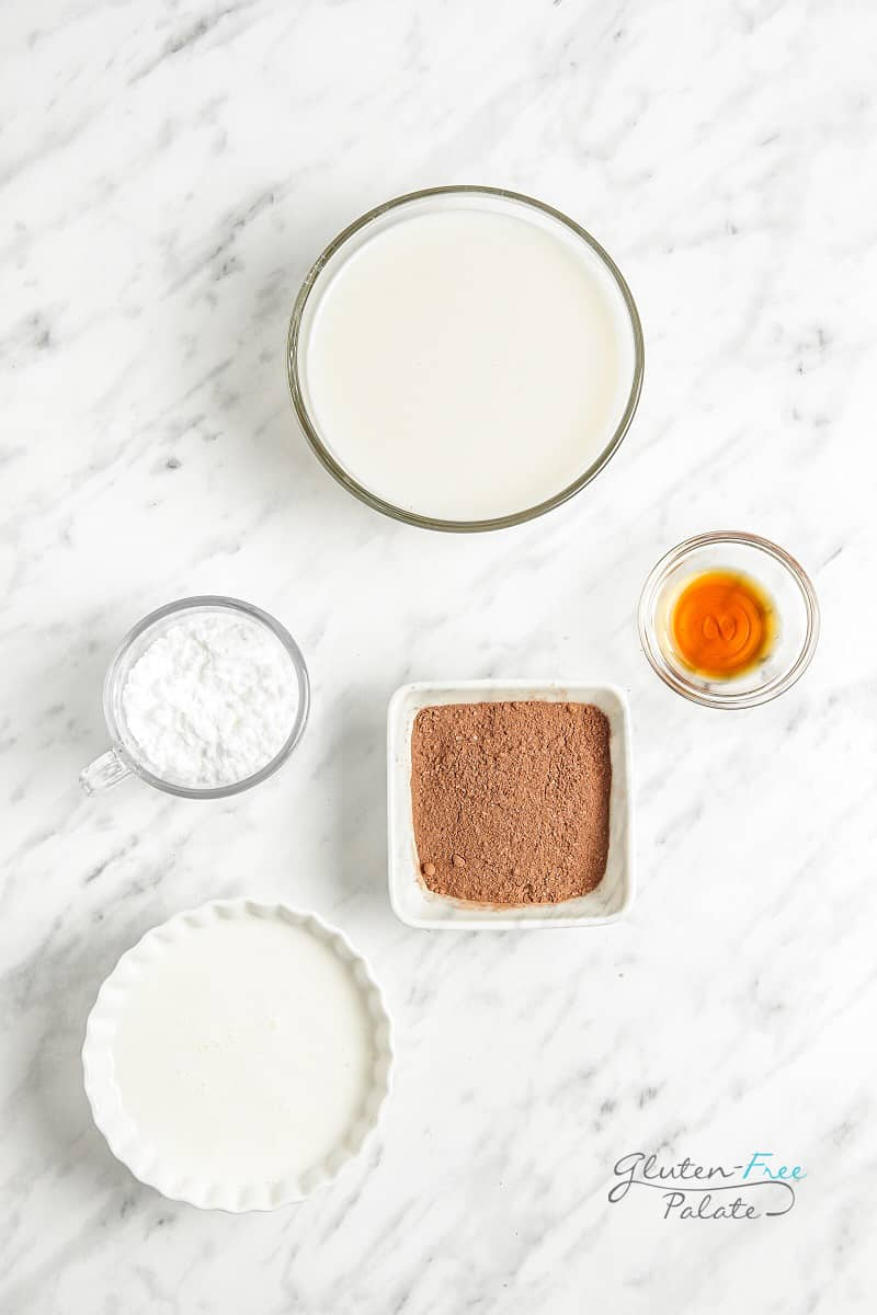 top down view of the ingredients needed to make whipped hot chocolate.