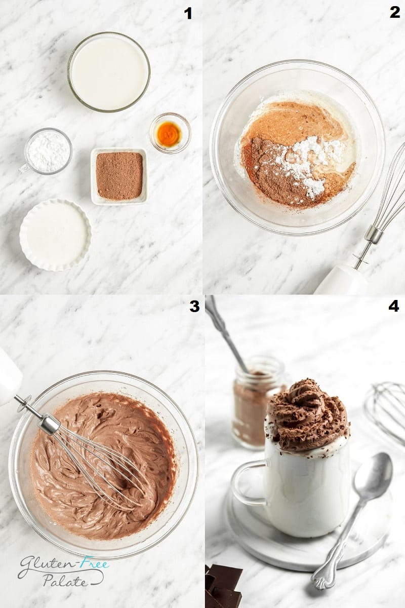 photo collage showing 4 steps needed to make whipped hot chocolate