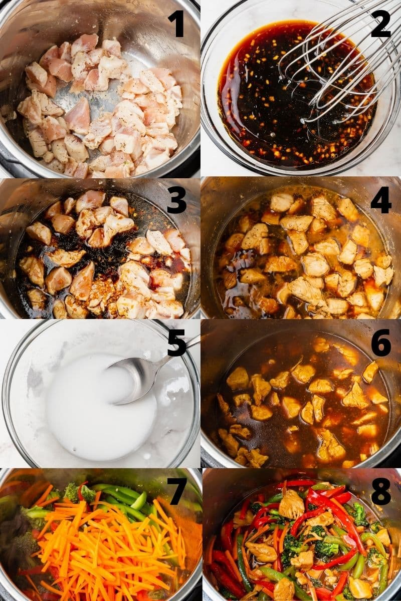 photo collage showing 8 steps needed to make instant pot chicken stir fry