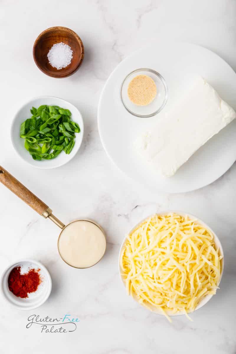 top down view of the ingredients needed to make jarlsberg cheese dip.