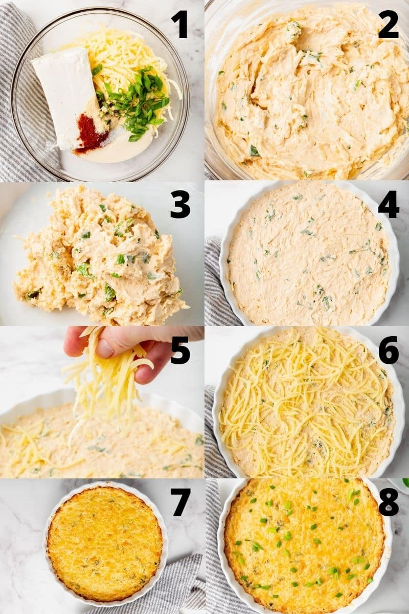 Photo collage showing 8 steps needed to make jarlsberg cheese dip