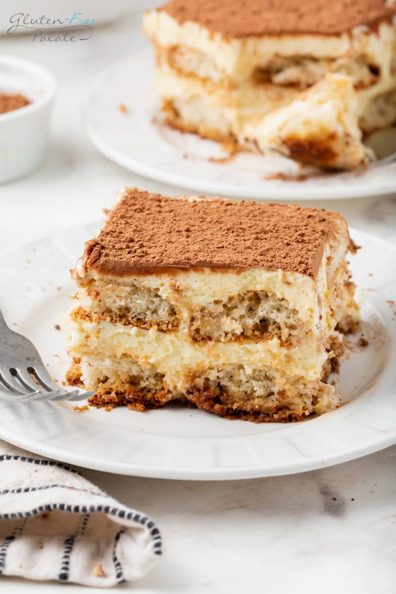 a white plate with a square piece of tiramisu on it.