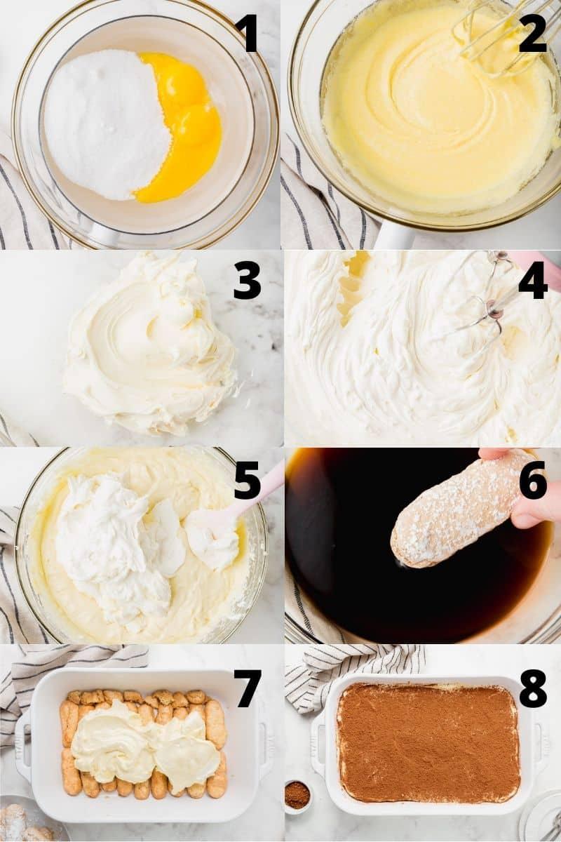 Photo collage showing 8 steps needed to make gluten free tiramisu