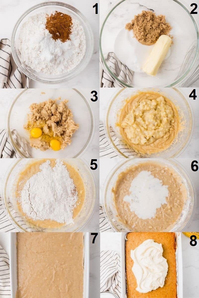 Photo Collage showing 8 steps needed to make gluten free banana cake