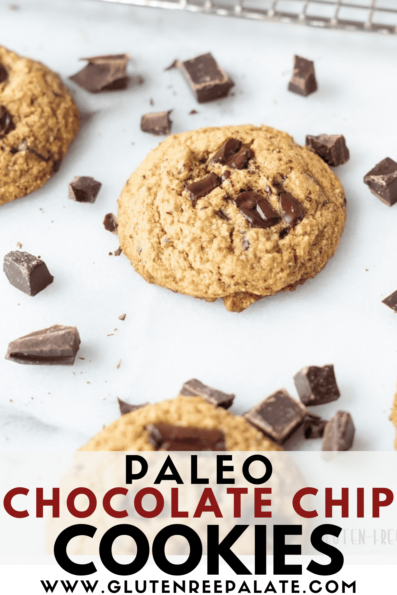 image of paleo chocolate chip cookies with text overlay